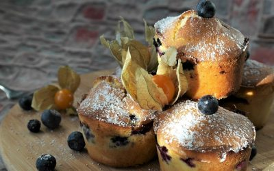 Muffin all'avena, mirtilli e arancia